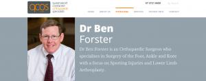 Dr Ben Forster, orthopaedic surgeon in brisbane