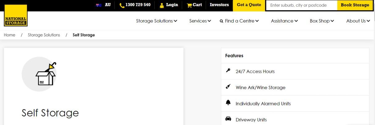 Self storage provider Australia